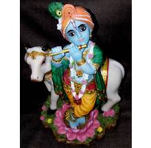 "Krishna With Cow large size -- Polyresin Deity (10"" high)"