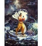 Krishna as a baby Carried over the Yamuna River by Vasudeva