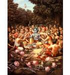 Krishna and His Cowherd Boyfriends Take Lunch in the Forrest