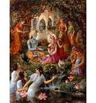 Radha and Krishna with Gopis in Vrindavan