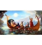 Radha and Krishna and Gopis on Boat