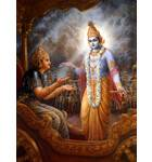Krishna Instructs Bhagavad Gita to Arjuna