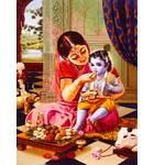 Mother Yasoda Feeding a Young Lord Krishna in Vrindavan