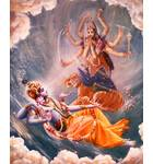 Mother Durga Riding on Her Tiger Carrier Offers Prayers to Lord Vishnu