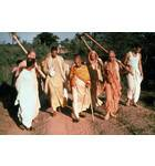 Srila Prabhupada and a Group of Devotees on a Morning Walk In India