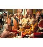 Prabhupada Handing Japa Beads to Woman Devotee