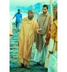 Srila Prabhupada on Morning Walk Juhu Beach Bombay