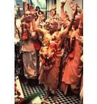 Prabhupada at the Installation of Sri Sri Radha Gokulananda at Bhaktivedanta Manor