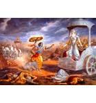 Krishna Attacks Bhishma Painting