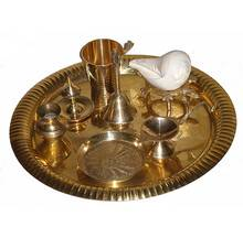 "Small Aroti Set (8-9"" tray with Bell, Incense Holder, Flower Tray, Conch, Ghee Lamp)"
