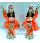 "Gaura Nitai Deities 18"" One Hand Up and one Down; Lotus Base"