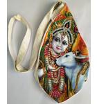 Krishna & Cow Digitally Printed Bead Bag with Embroidery