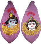 Krishna in mid of Flower Petals with Radha on Back Japa Bead Bag (Embroidered)