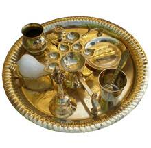 "Large Aroti Set (13"" tray with Bell, Incense Holder, Flower Tray, Conch, Ghee Lamps)"