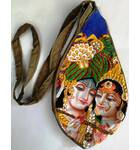 Radha Krishna With Pearls Digitally Printed Bead Bag with Embroidery