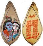 Radha-Krishna with Flute and Mahamantra on Back Japa Bead Bag (Embroidered)