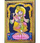"Wall Hanging -- Radha and Krishna Standing in Lotus Flower (30""x40"")"