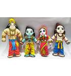 Lord Rama's Family (Sita, Rama, Lakshmana and Hanuman) -- Childrens Stuffed Toy