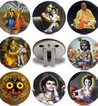 "Pack of 8, Folding Altar Stands 3"" -- Krsna, Jagannatha, Prabhupada, Gaura Nitai"