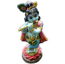 "Lotus Krishna Standing on Lotus Flower Polyresin Figure (8"")"