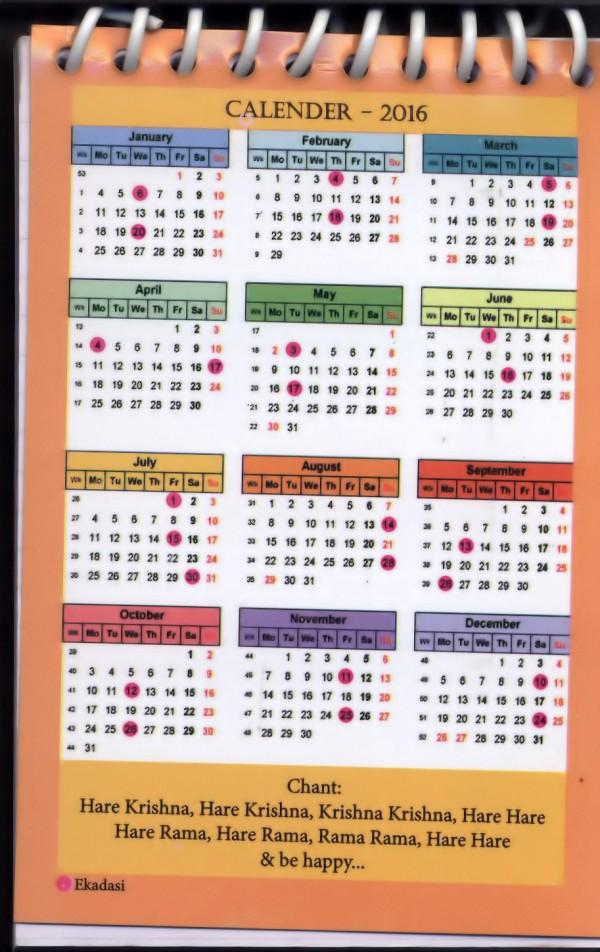 Calendar Notebook 2016 : Prabhupada small spiral notepads with calendar pack